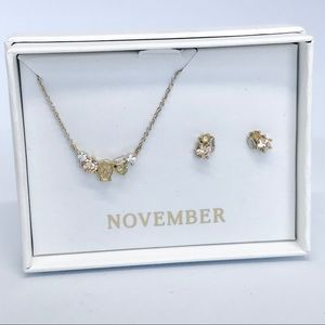 Petite Bijoux Necklace + Earring Set- November